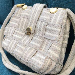 Vintage Italian belt weave cream and gold handbag